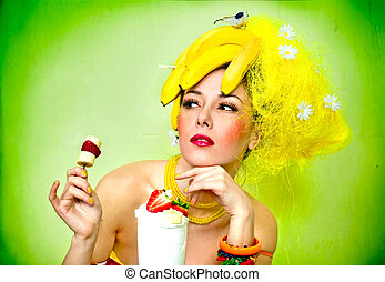 Sexy Banana lady with cream cocktail and snack
