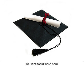 Cap and diploma - A black graduation cap with a rolled...