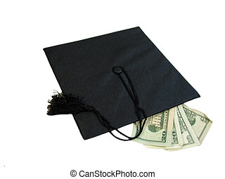 Graduation Cash - A black graduation cap with 10 & 20 dollar...