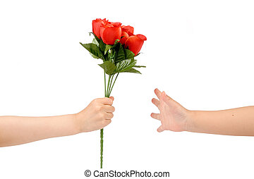 handover red rose, love concept