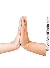 high-five, children hands with white background