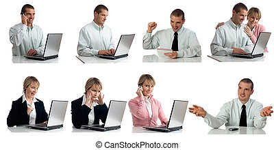business men and women in different situations isolated on...