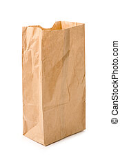 brown paper bag with white background