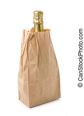 champagne and brown paper bag with white background