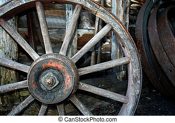 Old Wooden carriage wheel - an image of a Old Wooden...