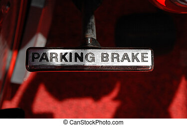 parking brake - metal brake lever from a classic car
