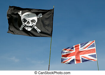 pirates and the british - skull and cross-bones and british...
