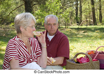 Tasty bite - Elderly couple outdoors having a picnic focus...