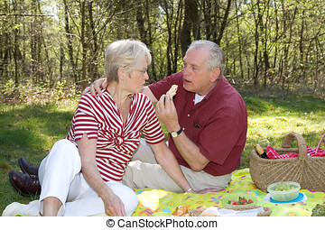 Picnic in the forest - Elderly couple enjoying a leisurely...