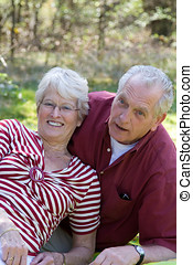 Lovely senior couple - Senior couple during a picnic in the...