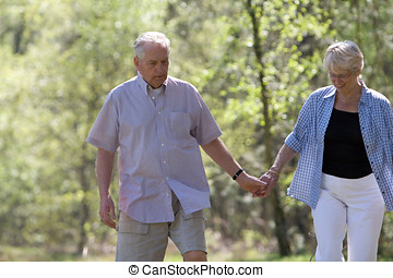 Strolling through the park - Elderly couple walking hand in...
