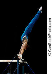 Athlete On Uneven Bars - An athlete performing on the uneven...