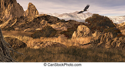 Bald Eagle in the Rockies - Image from an original 12x24...