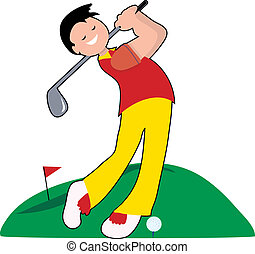 Golfer hitting a ball on a fairway