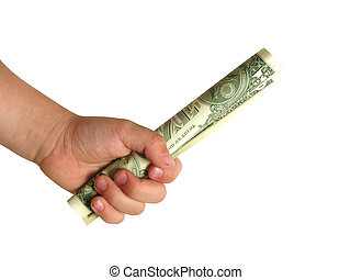 boys hand with first dollar