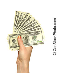 girls hand with dollars