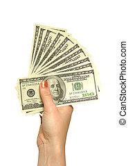 menina, mão, dólares
