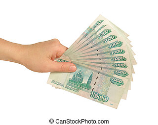 girls hand with rubles