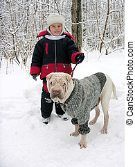 child with dog winter