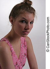 Cute woman eye contact - A cute woman has eye contact with...