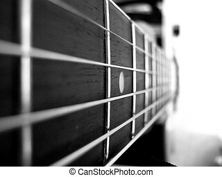 B and W Guitar - A beautiful picture of guitar strings in...
