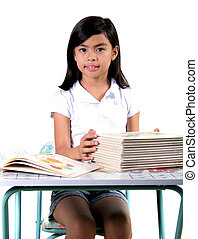 Asian Gradeschool Student - Eight Year Old Asian Student...
