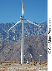 California Wind Farm - A wind turbine is shown here from a...