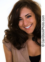 Beautiful smile - close up of face of an attractive brunette...