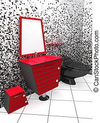 Modern bathroom - 3D rendering of a modern bathroom in...