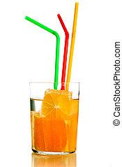 Orange juice - Orange fresh juice with fruits parts