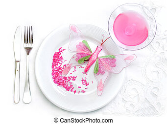 Glamour food concept - plate, polka glass, fork, knife, pink...
