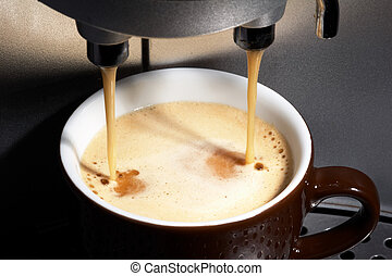 coffeemachine working - coffe dispenser with cup of coffee