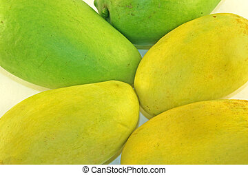 Greeen & yellow mango - Selection of green and ripe yellow...
