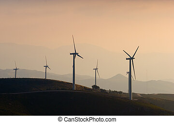 Wind Turbine Farm at Sunset