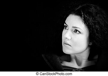 Beautiful Woman - Black and White portrait of a beautiful...