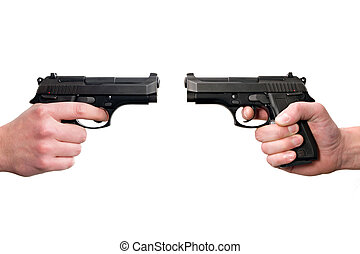Duel - Two hands holding guns, front to front. Isolated on...