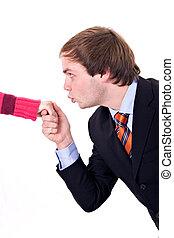 Hand Kiss - Young man with suit and tie, kissing a lady\\\'s...