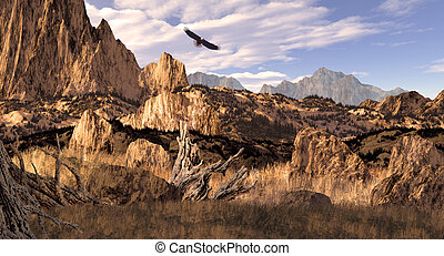 Bald Eagle in the Rockies - Image from an original 13x24...