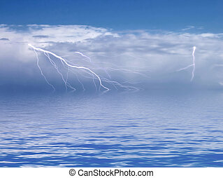 Storm Cell - Storm cell in distance over ocean, with...