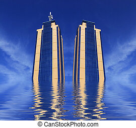 Twin Towers Rising - Modern urban views and architecture in...