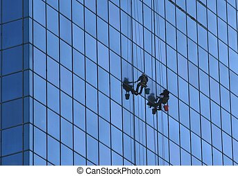 window washers working in downtown st. louis