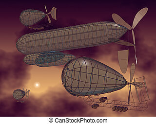 flying machines - 3D model of fantasy flying machines