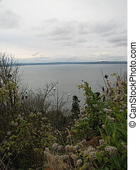 Puget Sound - Looking out into the Puget Sound in Seattle,...
