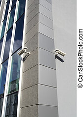 TwoCams - Two security cameras attached on building corner