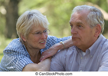 Senior couple - Lovely senior couple outdoors shallow dof,...