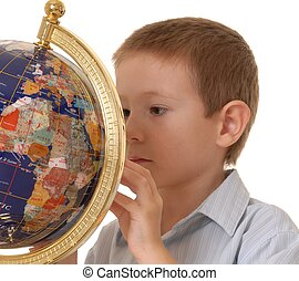 It\\\'s A Small World 4 - young boy studying a globe