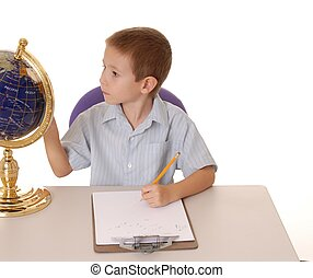 It\\\'s A Small World 6 - young boy studying a globe and...