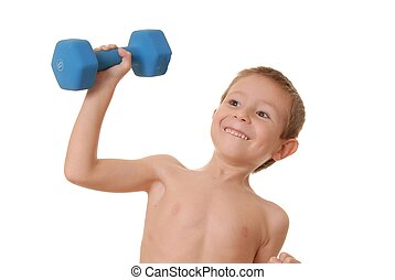 Health and Fitness Boy 12 - Young boy lifting weight that is...