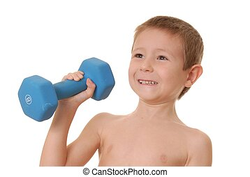 Health and Fitness Boy 14 - Young boy lifting weight that is...
