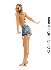 happy blond in denim skirt - picture of happy blond in denim...